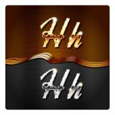 Golden stylish italic letters H — Stock Vector