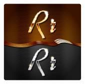 Golden stylish italic letters R — Stock Vector