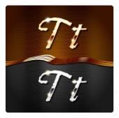 Golden stylish italic letters T — Stock Vector