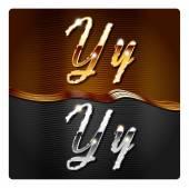Golden stylish italic letters Y — Stock Vector