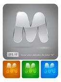 """Glass alphabet letter """"M"""" — Stock Vector"""