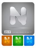 """Glass alphabet letter """"N"""" — Stock Vector"""