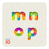 Lowercase letters m, n, o, p — Stock Vector