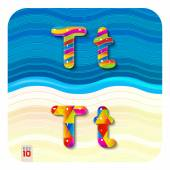 """Letters uppercase """"T"""" and lowercase """"t"""" — Stock Vector"""