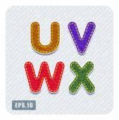 Dril de algodón las letras U, V, W, X — Vector de stock
