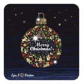 "Christmas ball with congratulation ""Merry Christmas — Stock Vector"