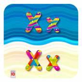 Multicolored letters X — Stock Vector