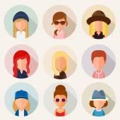 Set of cartoon characters girls. — Stock Vector