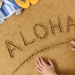 Aloha beach writing — Stock Photo #65838541
