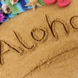 Aloha beach writing — Stock Photo #65838555
