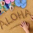Aloha beach writing — Stock Photo #65838557