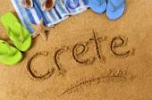 Crete beach writing — Fotografia Stock