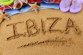 Ibiza beach writing — Stock Photo