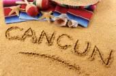 Escritura de playa de Cancún — Foto de Stock