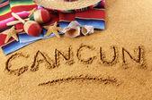 Écriture de plage Cancun — Photo