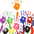 Raised hands in acrylic paint — Stock Photo #65953983