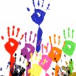 Raised hands in acrylic paint — Stock Photo #65954017