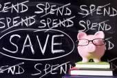 節約メッセージで貯金 — ストック写真