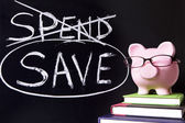 Piggy Bank with savings message — Foto Stock