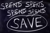 Spend and save message — Zdjęcie stockowe