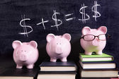 Three Piggy Banks with savings formula — Foto de Stock