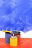 Partly painted blue wall — Stock Photo