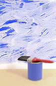 White wall with untidy blue paint — Stock Photo
