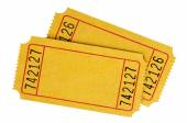 Pair of blank yellow tickets — Stock Photo