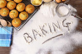 Baking cakes with ingredients — Stockfoto