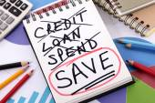 Spending and saving message — Foto Stock