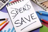 Spending and saving message — Stock Photo