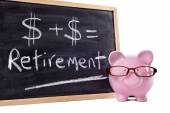 Piggy Bank with retirement calculation — Stockfoto