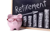 Piggy Bank with retirement savings chart — Stock Photo