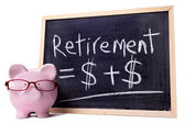 Piggy Bank with retirement formula — Stock Photo