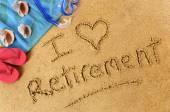 Retirement beach writing — Stock Photo