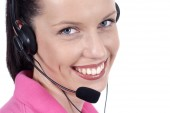 Headset and smile — Stock Photo