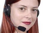 Call center woman telephone headset — Stock Photo