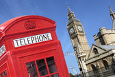 Telephone box with Big Ben — Stock Photo