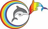 Dolphins and rainbow — Stock Vector