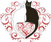 Two cats in love — Stock Vector