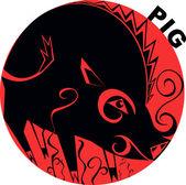 Chinese Horoscope pig — Stock Vector