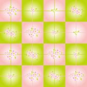 Checkered background with pink flowers — Stock Vector