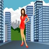 Woman red dress city fashion street sale — Stock Vector