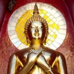Gold buddha statue mirror background — Stock Photo #62356107