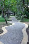 Curved resort walk way  green tree — Stock Photo