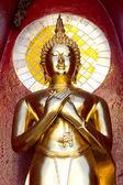 Gold buddha statue mirror background — Foto Stock