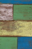 Detail of abstract art color wood wall yellow green — ストック写真