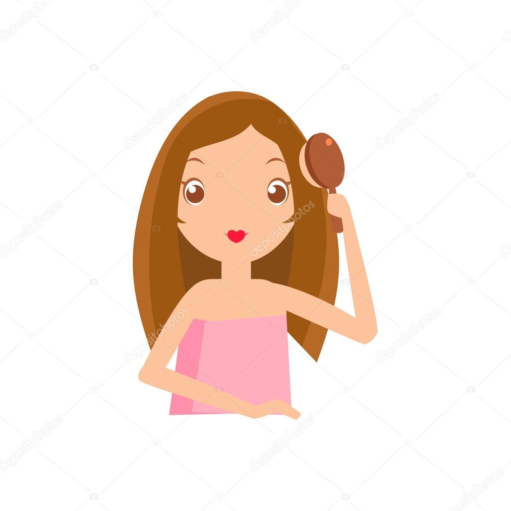 chica cepillarse el pelo � vector de stock 108396690