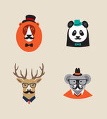 Hipster Animals set of vector icons. Lion, panda , deer, koala — Stock Vector