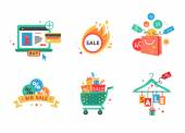 Collection of shopping carts full of shopping bags and gift boxes. Concept of discount. Vector. — Stock Vector
